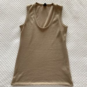 J. Crew tan and gold shimmer scoop neck tank top